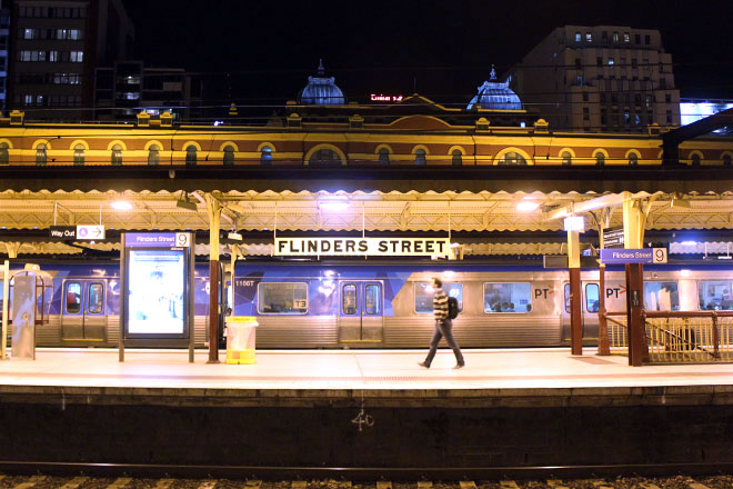 Flinders Street Railway Station platform at night