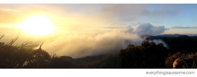 Sunset among clouds