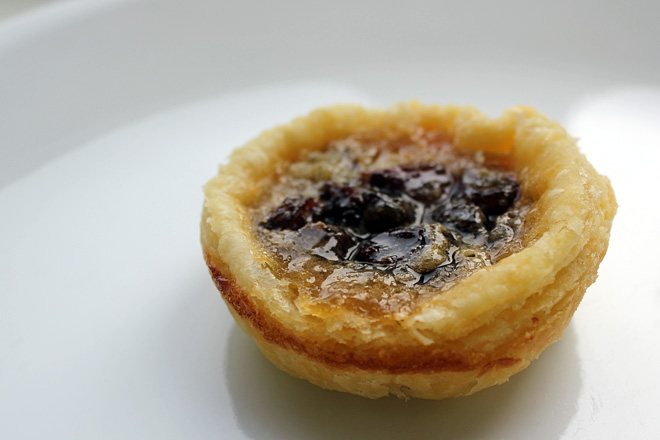 Canadian butter tart, made with raisins and honey.