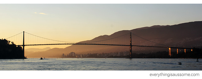 Lions Gate Bridge, from the Vancouver Harbour, September 2013.
