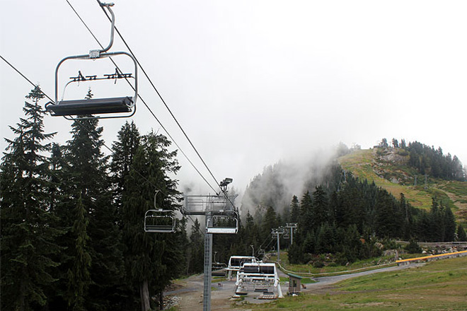 Ski lifts at Grouse Mountain, August 2013.