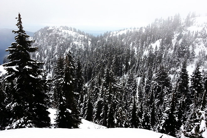 Snowshoeing at Mt Seymour, First Peak.
