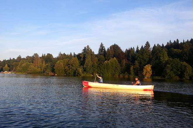 Canoeing at Deer Lake, Burnaby, August 2013.
