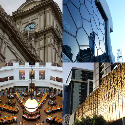 Camberwell City Town Hall, Melbourne Recital Centre, building at Docklands, State Library interior.