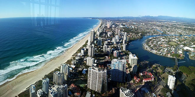 View of Surfers Paradise in the daytime, from Skypoint Observatory.