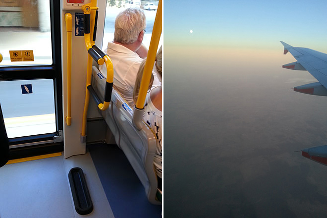 Left: On the G, they have racks/slots for surfboards. Right: Full moon sunset on the plane ride back to Melbourne.