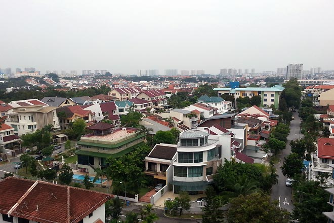 Aerial view of another residential area.