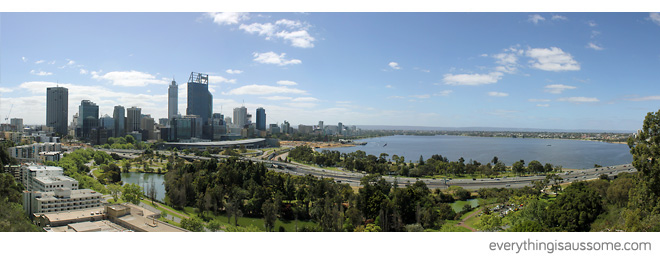 View of the City from Botanic Garden of Perth