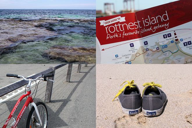 Rottnest Island waters, map, bike, and shoes off.