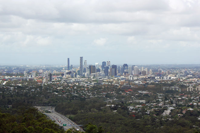 Beautiful view of Brisbane City from Mt. Coot-tha