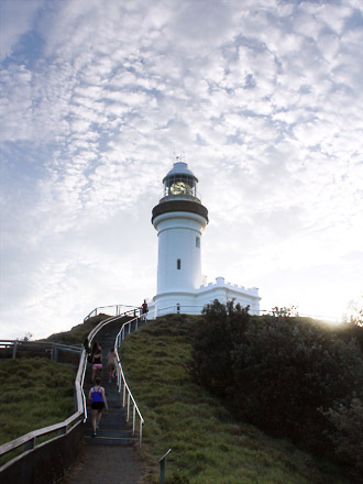 Byron Bay, approaching the lighthouse with sunlight illuminating it from behind. Quite astonishing.