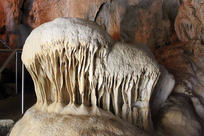 Stalagmites, look like mushrooms.