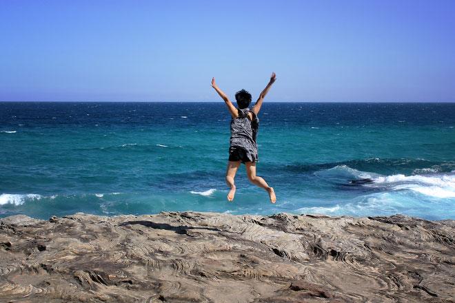 Jump shot of me. Bondi to Coogee Beach Coastal Walk