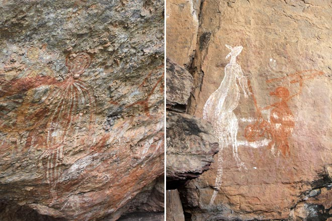 Rock art, the one on the right with kangaroos.