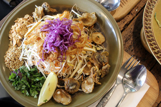 The mushroom salad from the restaurant, Garden of Vegan.