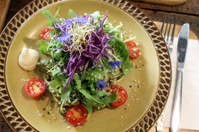 The zucchini pasta from the restaurant, Garden of Vegan.