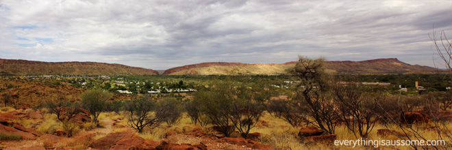 Alice Springs with mountain ranges in the backdrop.