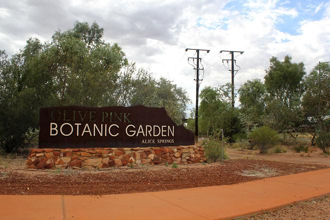Olive Pink Botanic Garden sign
