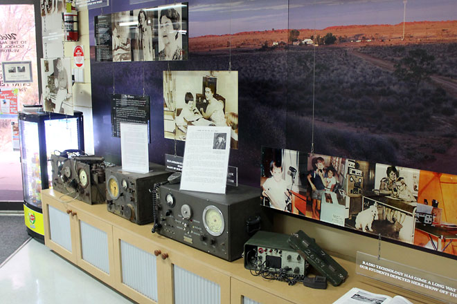 Displays of old radio controllers and photos of the programme when it first started.