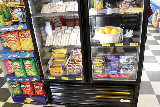 Chocolate bars in the fridge.