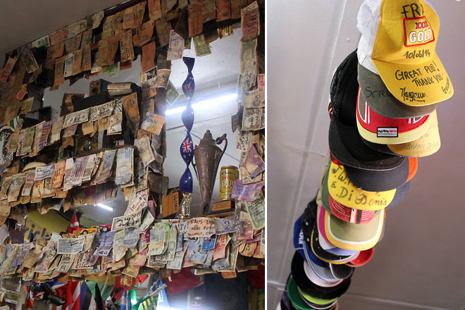 Left: Monetary notes from around the world. Right: Ball caps hung on a pole across the ceiling.