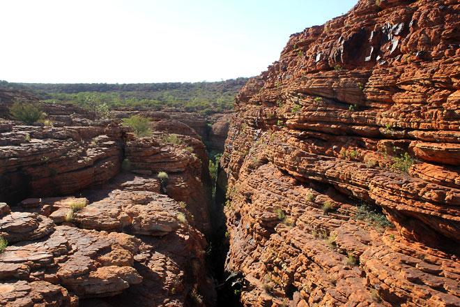 Drops between rock cliffs.