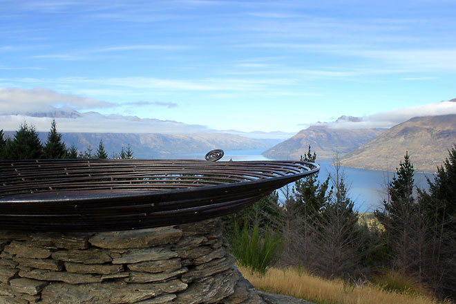 View of the lake from Queenstown Hill. Sculpture in front.