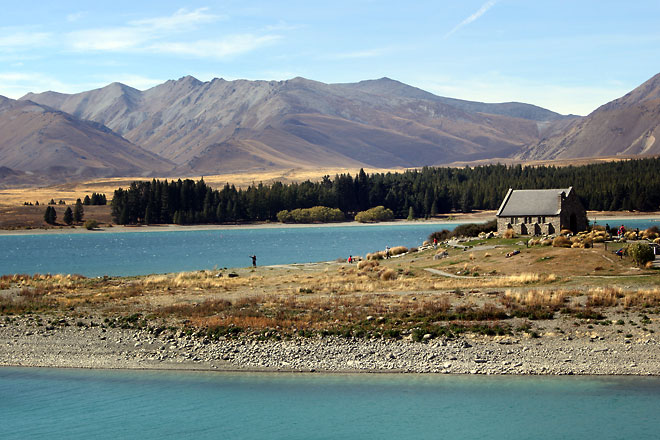 Lake Tekapo and church in the mid ground.