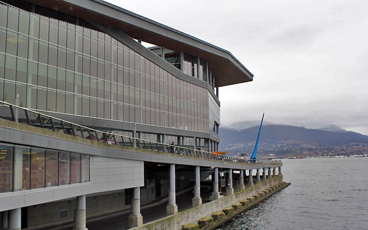 Vancouver Convention Centre Exterior with Raindrop sculpture in the distance