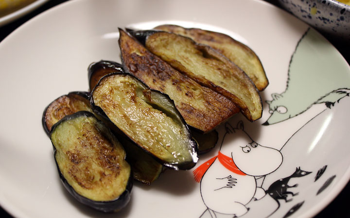 Japanese eating: Lightly fried eggplant.