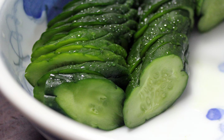 Japanese eating: cucumbers.