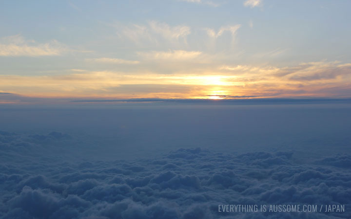 View from Mt Fuji, just as the sun rises. A sea of clouds.