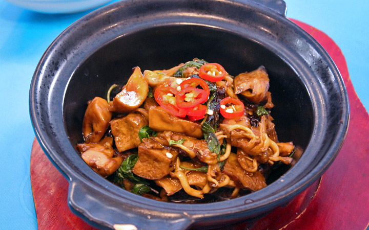 Tofu pot with basil and red hot chilli peppers