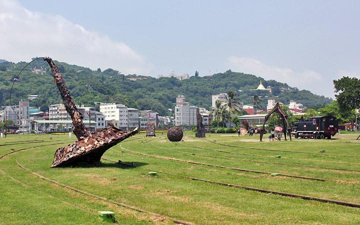 Scrap metal sculptures.