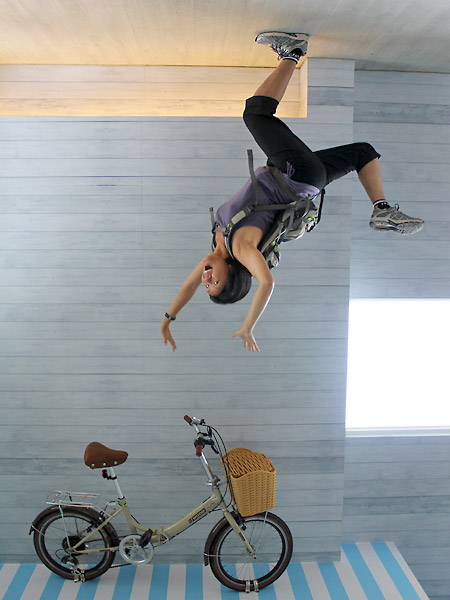 Bike on the bottom, me flying off the bike.