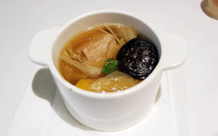 Soup with mushroom, cabbage, mock meat.