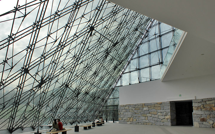 Glass pyramid building, inside.