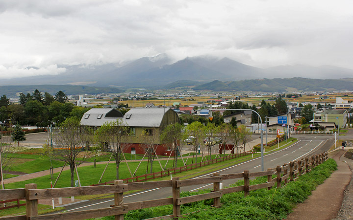 View of the farm land in Furano