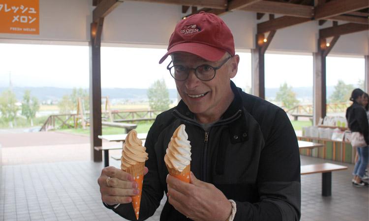 Shark & 2 cantaloupe ice cream cones